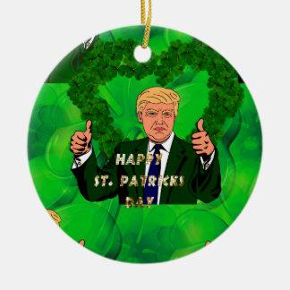 st patricks day donald trump round ceramic ornament