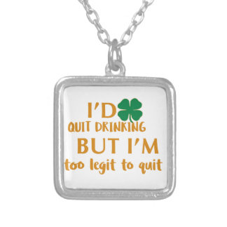 St Patrick's day drinking design Silver Plated Necklace