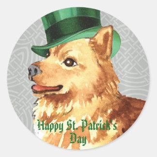 St. Patrick's Day Finnish Spitz Round Sticker