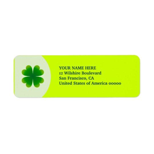 St. Patrick's Day Four Leaf Clover Label Address Return Address Label
