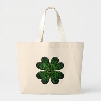 St. Patrick's Day Four Leaf Clover/Shamrock Celtic Large Tote Bag