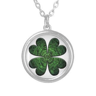 St. Patrick's Day Four Leaf Clover/Shamrock Celtic Round Pendant Necklace