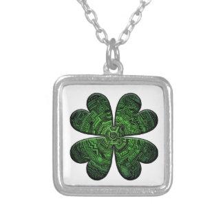 St. Patrick's Day Four Leaf Clover/Shamrock Celtic Silver Plated Necklace