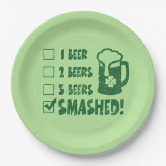 St Patrick's Day Funny Beer Drinking Paper Plate