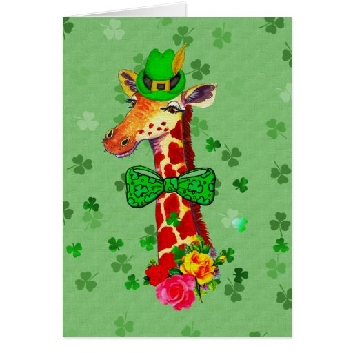 St. Patrick's Day Giraffe Greeting Cards