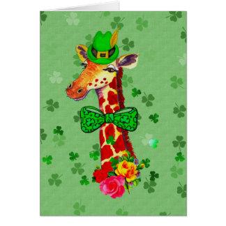St. Patrick's Day Giraffe Note Card