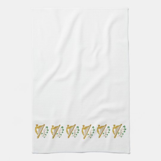 St Patrick's Day Gold Harp and Shamrocks Hand Towels