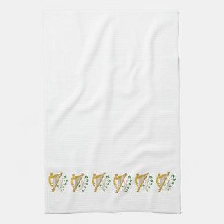 St Patrick's Day Gold Harp and Shamrocks Kitchen Towel