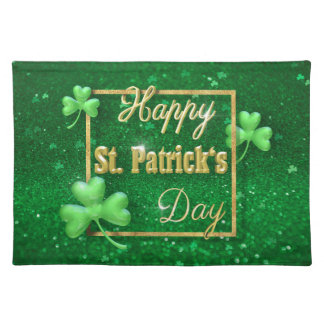 St. Patrick's Day Gold Shamrock - Cloth Placemat