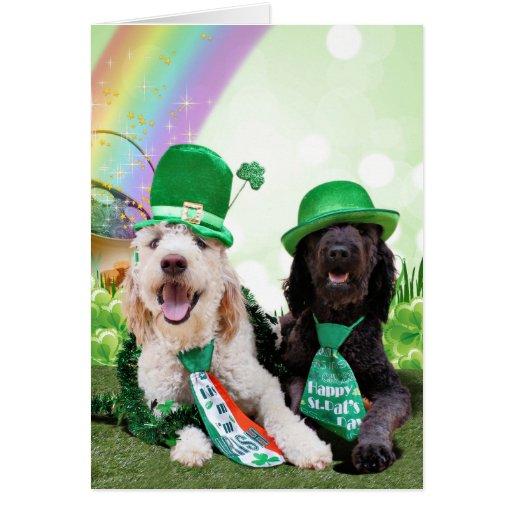St Patricks Day - GoldenDoodles - Sadie and Izzie Greeting Card