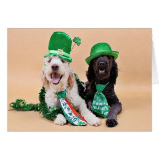 St Patricks Day - GoldenDoodles - Sadie and Izzie Note Card