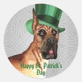 St. Patrick's Day Great Dane Round Sticker