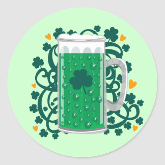 St. Patrick's Day Green Beer Classic Round Sticker