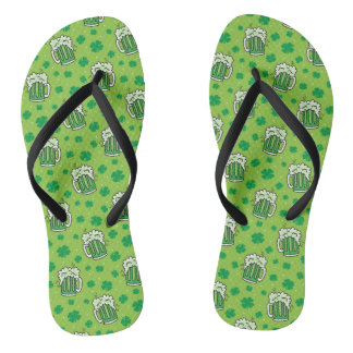 St Patrick's Day Green Beer Pattern Flip Flops