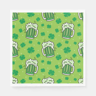 St Patrick's Day Green Beer Pattern Paper Napkin