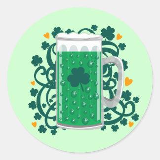 St. Patrick's Day Green Beer Round Sticker