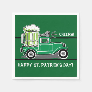St Patrick's Day Green Beer Vintage Truck Paper Napkins