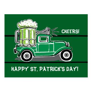 St Patrick's Day Green Beer Vintage Truck Postcard