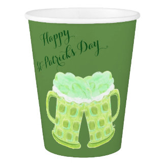 St-Patrick's Day green beers paper cup