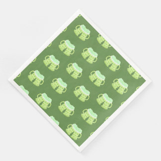 St-Patrick's Day green beers pattern paper napkins