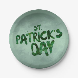 St Patrick's Day Green Clover Irish Celtic Paper Plate