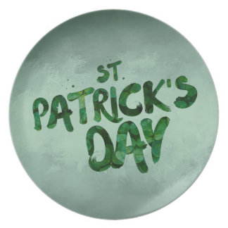 St Patrick's Day Green Clover Irish Celtic Plate