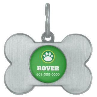 St. Patrick's Day Green Dog Paw Print Pet Name Tag
