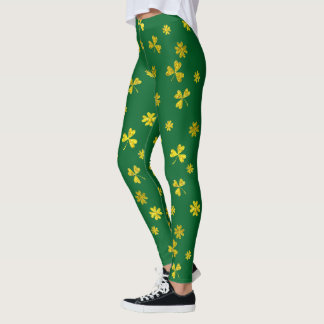 St Patrick's Day Green Gold Irish Shamrocks Leggings