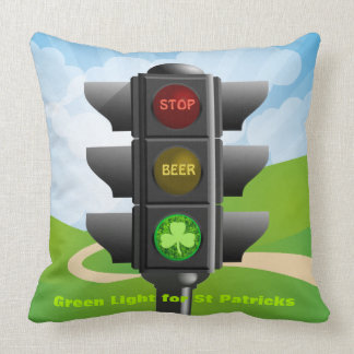 ST PATRICKS DAY GREEN LIGHT FOR DRINKING BEER THROW PILLOW