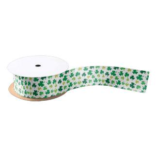 St Patricks Day Green Shamrock Clover Pattern Satin Ribbon