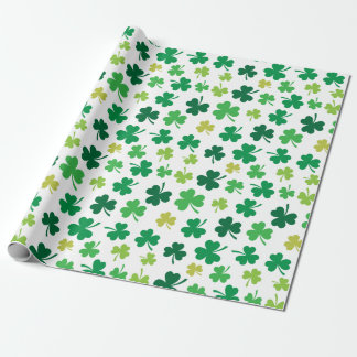 St Patricks Day Green Shamrock Clover Pattern Wrapping Paper