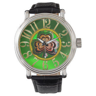 ST PATRICK'S DAY GREEN SHAMROCK GEMSTONE JEWEL WATCH