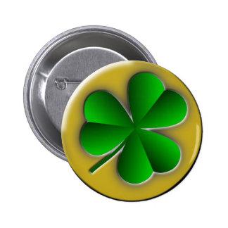 St Patrick's Day Green Shamrock Gold Background 2 Inch Round Button