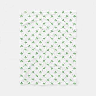 St. Patrick's Day Green Shamrock Pattern Fleece Blanket