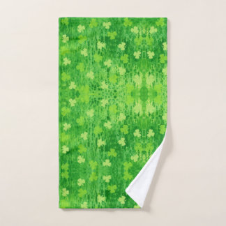 St Patrick's Day Green Shamrock Pattern Hand Towel