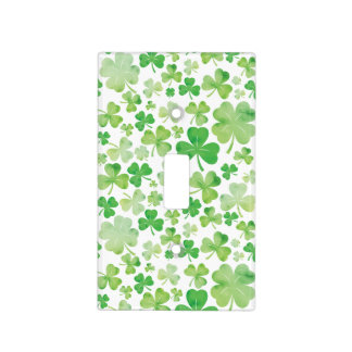 St Patricks Day Green Watercolour Shamrock Pattern Light Switch Cover