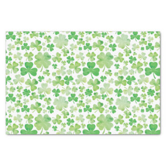 St Patricks Day Green Watercolour Shamrock Pattern Tissue Paper