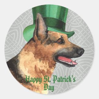 St. Patrick's Day GSD Round Sticker