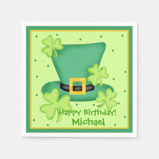 St. Patrick's Day Happy Birthday Name Personalized Paper Napkins