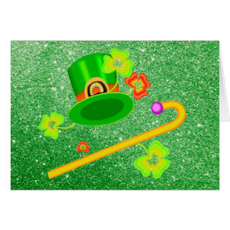 St. Patrick's Day Hat & Cane Apple Green Card