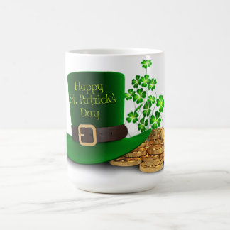 St. Patrick's Day - Hat & Clovers & Coins Coffee Mug