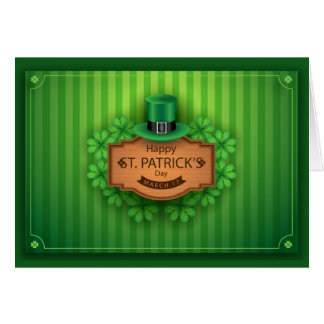 St. Patrick's Day - Hat & Clovers - Customize Card