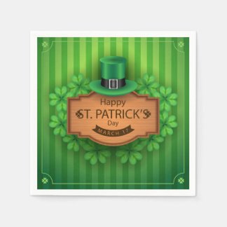 St. Patrick's Day - Hat & Clovers Paper Napkin