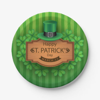 St. Patrick's Day - Hat & Clovers Paper Plate