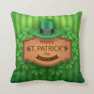 St. Patrick's Day - Hat & Clovers Throw Pillow