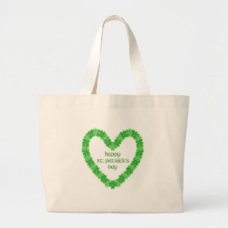 St Patrick's Day Heart Large Tote Bag