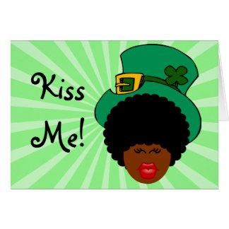 St. Patrick's Day Humor: Kiss Me. I'm Black Irish! Note Card