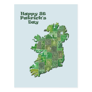 St Patrick's Day Ireland in stamps map Postcard