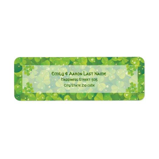 St. Patrick's Day Irish clover wedding label Return Address Label