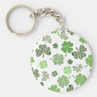 St. Patrick's Day Irish Green and White Clovers Basic Round Button Keychain